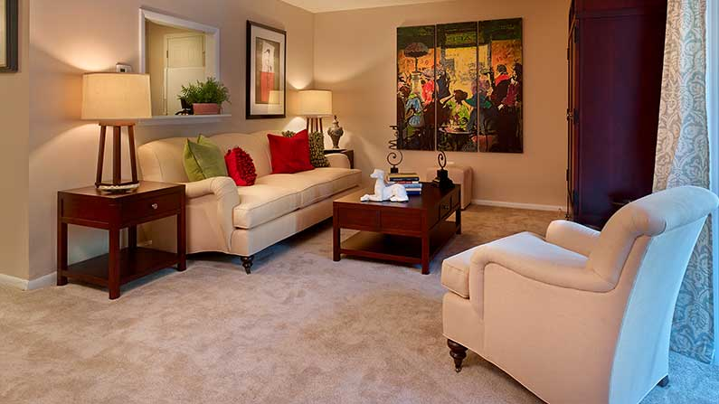 Furnished living room at The Villager at Barton Run apartments in Marlton, NJ.
