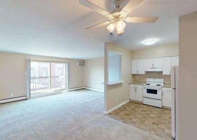 Eldorado Court Apartments 2 bedroom living space and kitchen