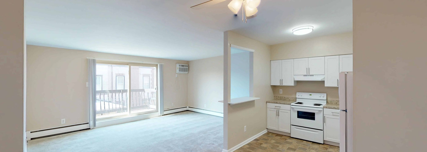 Eldorado Court Interior kitchen and living area