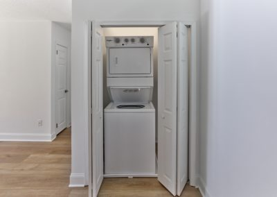 Stackable, in-unit washer and dryer in laundry closet of Wayne, PA apartment for rent