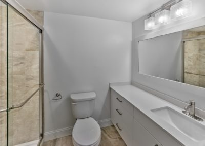 Renovated, handicap accessible bathroom with a large walk-in shower and spacious vanity