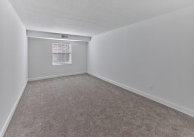 Huge apartment bedroom with beige carpeting, white walls, and a large window